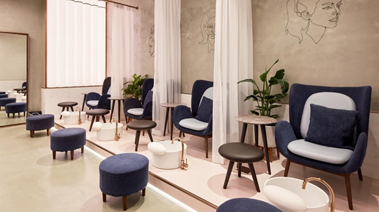 Deco Salon Rose Poudré h2r design redefines salon interiors at rose poudre with a